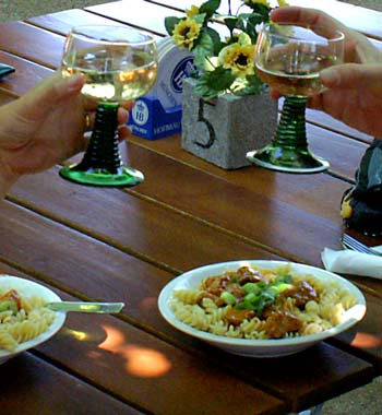 Pasta with goulash and local white wine...