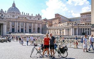 aankomst op het St.-Pietersplein in Rome